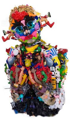 Freya Jobbins. Assemblage made from toys. Jobbins work explores the relationship between consumerist fetishism and recycling culture within the visual arts. http://www.freyajobbins.com/sculptures.html