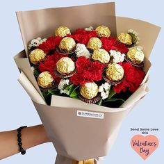 Make her feel extra special with our new Blooming Sweetness Bouquet this Valentine's Day Ferrero Rocher Bouquet, Online Flower Shop, Birthday Candy, Chocolate Brands, Same Day Flower Delivery, Chocolate Bouquet, Candy Bouquet, Funeral Flowers, Flower Boxes