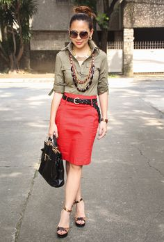Shirt   Red Pencil Skirt   Black Belt   Layered Necklaces