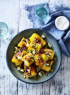 This has to be my all-time favourite topping for grilled corn. I use my buffalo sauce recipe that normally gets served with chicken wings and top it with nuggets of blue cheese, crispy bacon and spring onions.