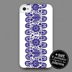 iPhone 4/4s cover - Design inspired by cross-stitch patter from Prievidza region, Slovakia in 1850  | Slovakia gift