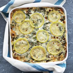 A layer of refreshing lemon slices brightens every bite of this lasagna made of sweet Italian sausage and Swiss chard. Instead of tomato sauce, the dish is made with a creamy and cheesy white sauce.