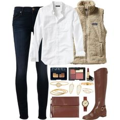 A fashion look from November 2014 featuring Patagonia vests, Hudson jeans and Louise et Cie boots. Browse and shop related looks.