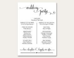 Wedding Program Template Wedding Program by AModernSoiree on Etsy