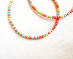 Multicolor Hoop Earrings, Tropical Rainbow,  handmade color block beaded hoops. $16.00, via Etsy.