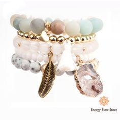 Layered Agate Bracelet Set - Calm and Concentration Layered Bracelets, Gemstone Bracelets, Bracelet Set, Gemstone Jewelry, Improve Concentration, Agate Stone, Cleanses, Crystals And Gemstones, Perception