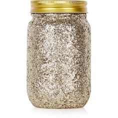 TOPSHOP Gold Glitter Jar ($7.48) ❤ liked on Polyvore featuring home, home decor, gold, gold home decor and topshop