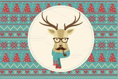 Vintage Hipster Christmas animals set, including 6 animal icons ~ Eps 10 ~ Png