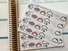 24 Weather Forecast Stickers Kit (Sunny, Raining, Snowing, Rainbow, Cloudy) by…