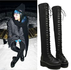Lace Up Oxford Military Combat Riding Low Flat Heel Over The Knee ...