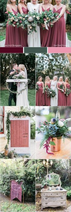dusty rose boho wedding color ideas / http://www.deerpearlflowers.com/fall-wedding-color-combos/2/