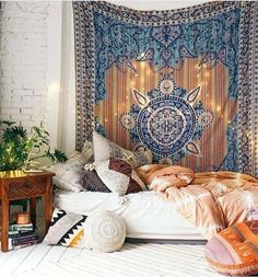 Home decor Bohemian bedroom // shop the style: Tapestry - Carved Wood Nightstand - Pink Duvet Cover - Round White Pillow - Graphic Kilim Pillow - Colorful Floor Pillow - Purple Net Tassel Pillow - Embroidered. Bohemian Apartment Decor, Bohemian Room, Bohemian Bedroom Decor, Hippie Home Decor, Cozy Bedroom, Dream Bedroom, Master Bedroom, Bohemian Style, Bohemian Decorating