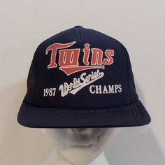 Minnesota 1987 WorldSeries Champs Snapback Baseball Truckers Hat Cap #Twins #Trucker