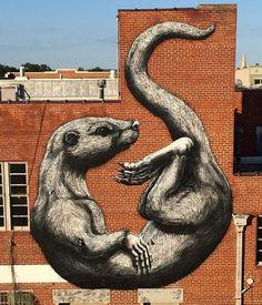 New Street Art by ROA  #art #arte #mural #streetart