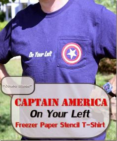 How to make a Captain America 2 On Your Left freezer paper stencil t shirt. Great handmade gift idea for runners and Captain America fans! Handmade Gifts For Him, Handmade Christmas Gifts, Avengers Crafts, Captain America 2, Freezer Paper Stenciling, Quick And Easy Crafts, You Left, Easy Craft Projects, Diy Clothing