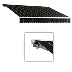 AWNTECH 12 ft. Galveston Semi-Cassette Right Motor with Remote Retractable Awning (120 in. Projection) in Black Pin