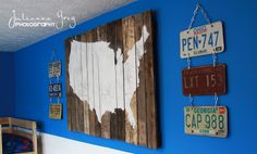 USA map on pallet wood.  Use projector to cut in the map.  Make the map detailed, add pins, or leave as is.