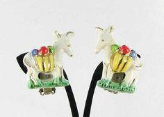 Ceramic Clip Back Earrings White Red Green by vintagejewelrylane, $17.99