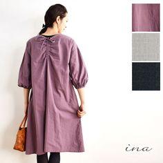 【ina イナ】後 Vネック シャーリング ワンピース (176121)レディース ファッション 春コーデ