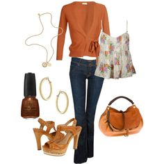 Ooh I like this for a weekend. I need that sweater wrap thing and a brown purse to pull it off.