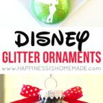 These Disney Glitter Christmas Ornaments are a super quick and easy DIY holiday decoration and gift idea! Customize with silhouettes of your favorite characters!