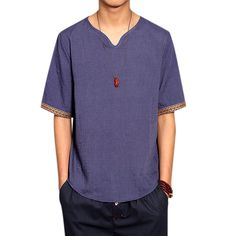 Sale 17% (16.66$) - Retro Chinese Style T-shirt Summer Men\'s Linen Solid Color V-neck Short Sleeve Tops Tees