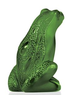 Lalique Rainette Frog, lime green - Realized in satin crystal, delicately ready to jump up. Some very tiny crystal pearls adorn its back.