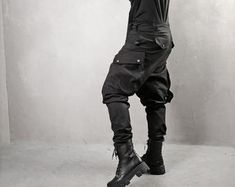 Avant Garde Pants /Harem Pants Women /Drop Crotch Pants/ Baggy   Etsy Military Combat Boots, Baggy Pants, Harem Trousers, Big Shoulders, Drop Crotch Pants, Tactical Clothing, Black Pants, Pants For Women, Cyberpunk