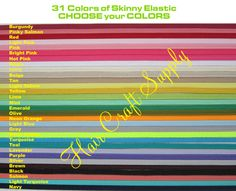 6 Ready Made Skinny Elastic Headbands - CHOOSE FROM 31 COLORS, baby, toddler, teen, adult