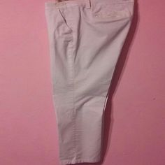 Ladies White Dress Slacks. Excellent Year Round White Ladies dress slacks .  wear to work or play.  Gently worn. Pocketed.  Belt loops. Button & zipper closure. .. Tiny light mark on right leg beside the knee on side of them.  Tried to photo but did not show up..  Light smudge. Very small.  Last picture shows area.  I mean seriously. Unnoticeable. ..READY TO WEAR💖 jcpenney Pants