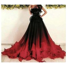 Red And Black Gown, Dark Red Dresses, Red Gowns, Ombre Wedding Dress, Black Wedding Dresses, Masquerade Dresses, Black Masquerade Dress, Maid Of Honour Dresses, Maid Of Honor Dress Different
