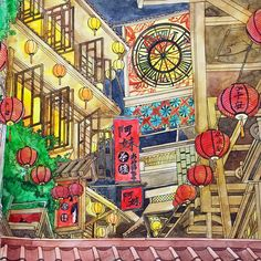 """""""Been there too many times while I was in #Taiwan and I guess this is the combination of my impression of #九份。 #時間旅行 #coloring #coloringbook #著色本…"""""""