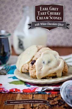 Earl Grey Tart Cherry Cream Scones with White Chocolate Glaze