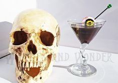 Eyeballtini Halloween Glass with Dark Green Drink with Eyeball on Pick with Green Skull, Party Poison Potion Witches Kitchen Halloween Potion Bottles, Beaded Skull, Kitchen Witch, Zig Zag Pattern, Black Wood, Glass Bottles, Halloween Party, Resin, Handle