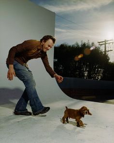 Heath Ledger with his & Naomi Watts' dog Ned by Ben Watts, 2003