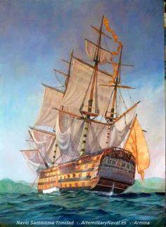Navío Santísima Trinidad en el taller de pintura. #navio #armada #armadaespañola #navy #oleo #pintura #marineart