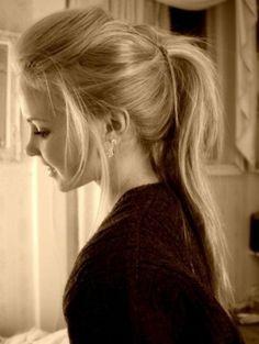 Messy half-up ponytail