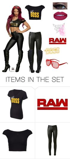 """WWE Sasha Banks~Raw"" by queenreigns-916 ❤ liked on Polyvore featuring art"