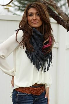 Jeans, white blouse, infinity scarf - simple and pretty. I love to belt too