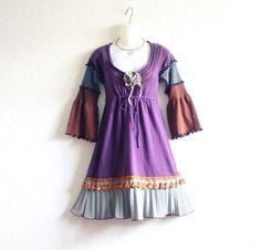 Boho Purple Dress Upcycled Clothing Fall Eco Fashion Brown Retro Dress Teen Juniors Women's Clothes XS XSmall 'NIKKI'