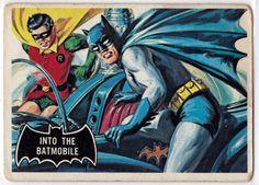 1966 Topps Batman Black Bat # 8 Into the Batmobile (Card) (Series has a Black Bat on Front) Deans Ca Batman 1966, Batman Art, Batman And Superman, Batman Robin, Batman Cartoon, Batman Stuff, Cartoon Art, Comic Book Heroes, Comic Books Art