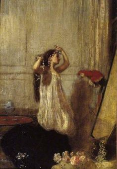 Henry Tonks (British, 1862-1937). A Girl with a Parrot. ca.1893