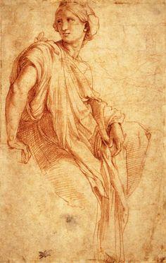 "♔ ART: Academic drawing "" Study of a Sibyl (recto), Raffaello Sanzio. Red chalk over Stylus, 262 x 167 mm British Museum, London "" Renaissance Kunst, High Renaissance, Renaissance Paintings, Michelangelo, Rembrandt, British Museum, Figure Drawing, Painting & Drawing, Drawing Sketches"