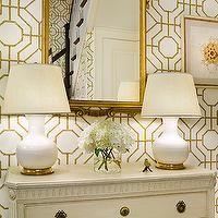 Sandra Morgan Interiors - entrances/foyers - gilt, mirror, white, gourd, lamps, ivory, vintage, chest, cowtan and tout wallpaper, bamboo wallpaper, , Cowtan & Tout Bamboo Wallpaper,