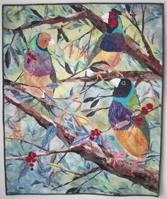 Gouldians an Art Quilt by BSLArtQuilts on Etsy, $750.00