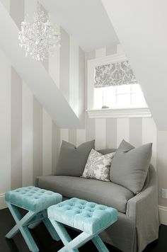 House of Turquoise: Turquoise and Gray bedroom Turquoise Room, House Of Turquoise, Wallpaper Wall, Stripe Wallpaper, Feature Wallpaper, Fabric Wallpaper, Wallpaper Lounge, Neutral Wallpaper, Blue Gray Bedroom
