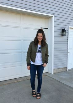 Real Mom Style: 7 Ways to Style a Bomber Jacket - momma in flip flops