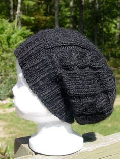 """Cabled Toddler Slouch Hat PATTERN - Baby Hat PATTERN- Fits 16-19 """" inch heads / Hats available as custom order"""