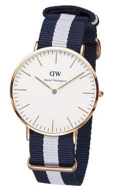 Daniel Wellington Men's 0104DW Classic Glasgow Rose Gold-Tone Stainless Steel Watch With Stripe Nylon Band