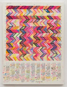 """Leslie Roberts' works translate found, quotidian language into abstract, patterned structures, which she refers to as """"illuminated manuscripts of the everyday."""""""
